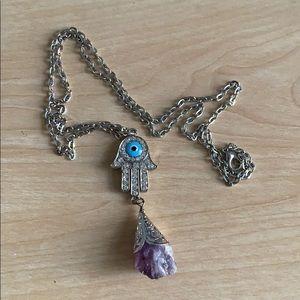 Amethyst Hamsa Long Necklace